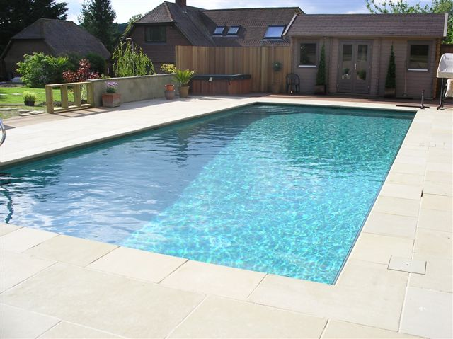 Sawn paving for swimming pool